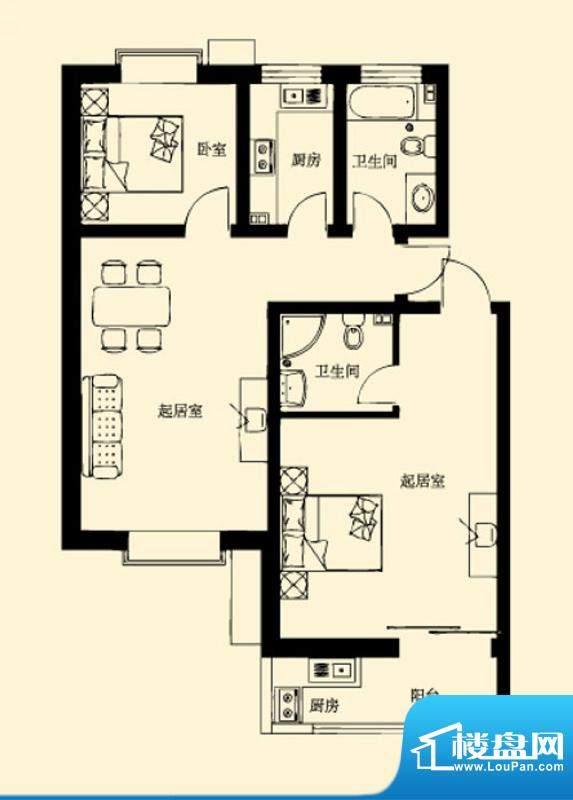 东岸酷博户型图1户型 2室2厅2卫面积:130.00平米