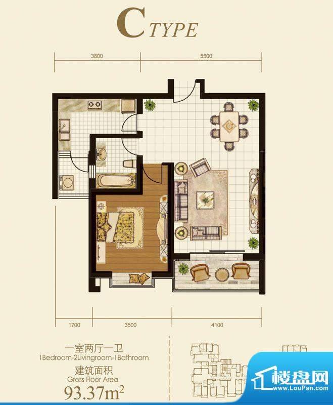 国际丽都户型图C户型 1室2厅1卫面积:93.37平米