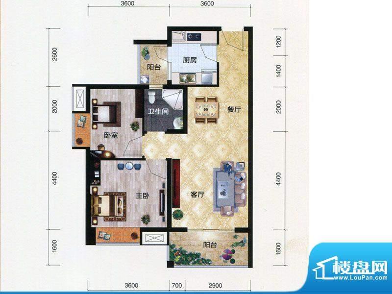 朗曼梦公园6号楼A1户面积:77.97m平米