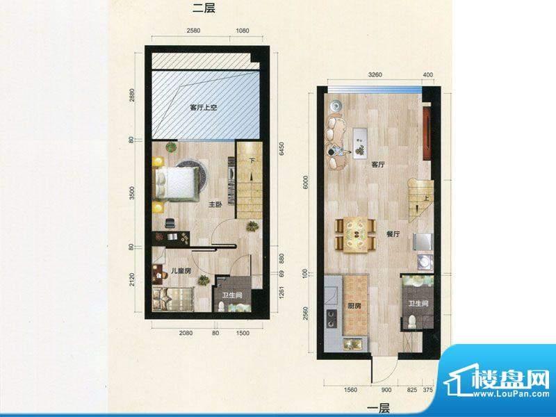 朗曼梦公园1号楼A户面积:43.00m平米