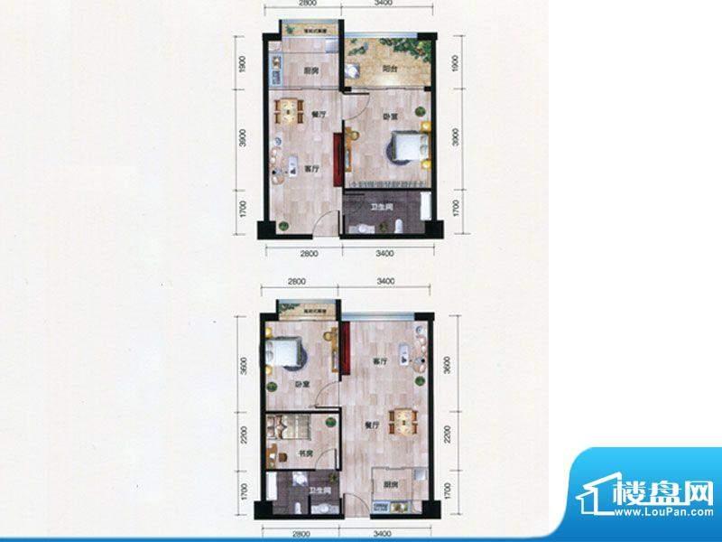 朗曼梦公园7号楼A户面积:60.36m平米