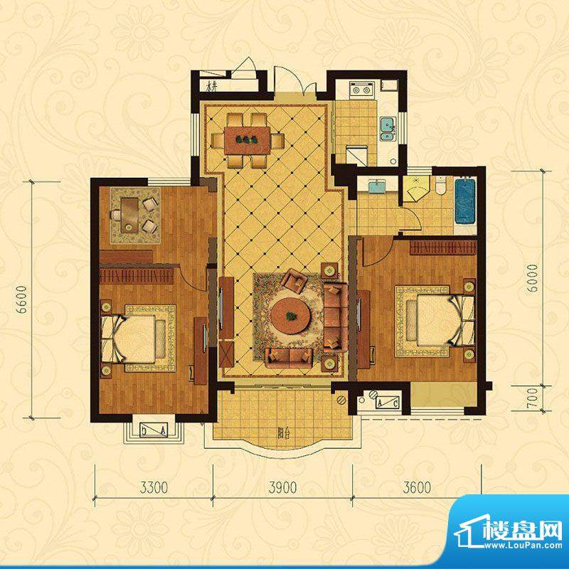巴黎都市9号楼3室2厅面积:108.00m平米