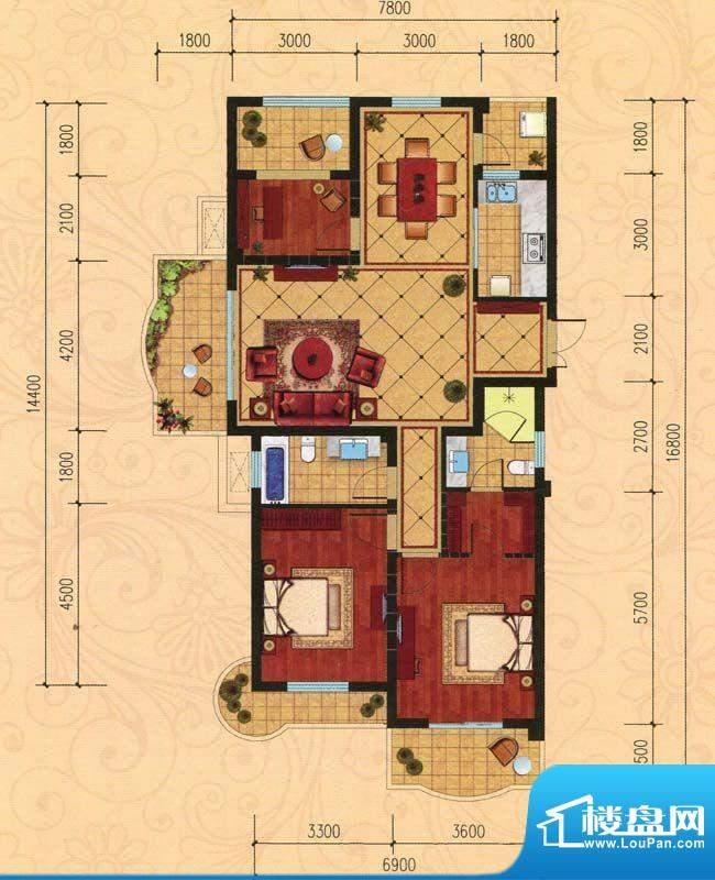 巴黎都市C1 3室2厅2面积:138.00m平米