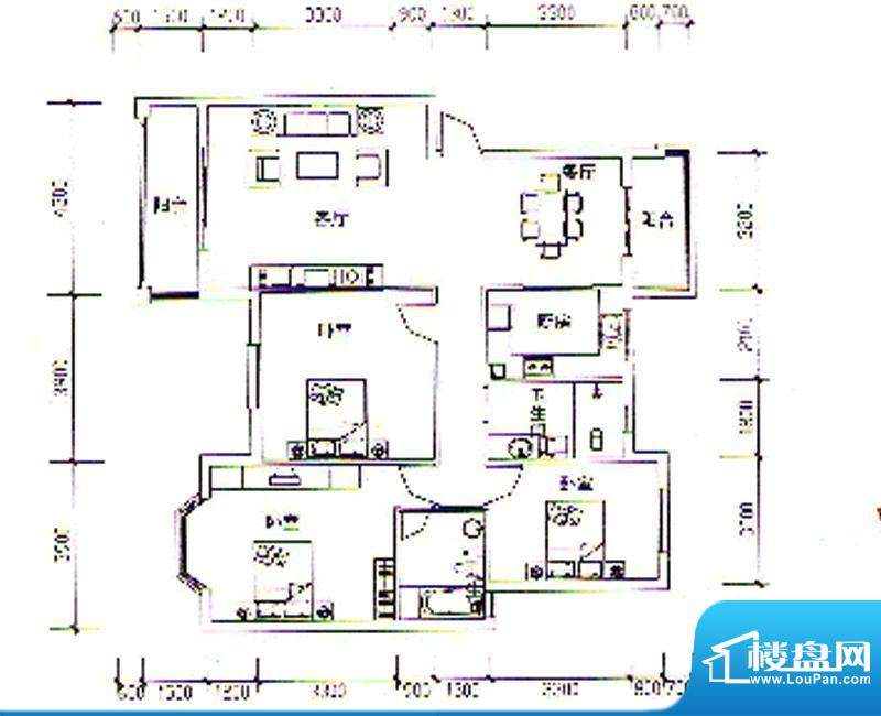 枣阳新天地K户型 3室面积:137.15m平米