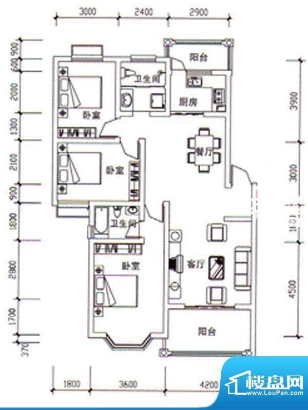 枣阳新天地F户型 3室面积:123.51m平米