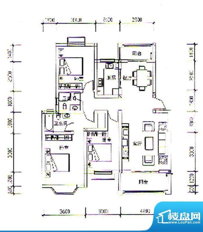 枣阳新天地E户型 3室面积:116.53m平米