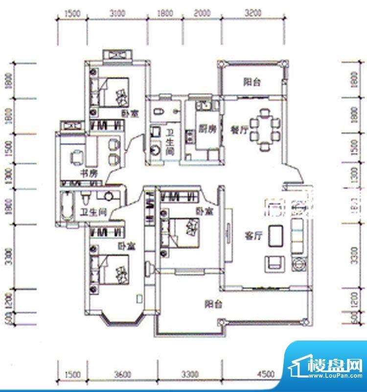 枣阳新天地B户型 4室面积:147.04m平米