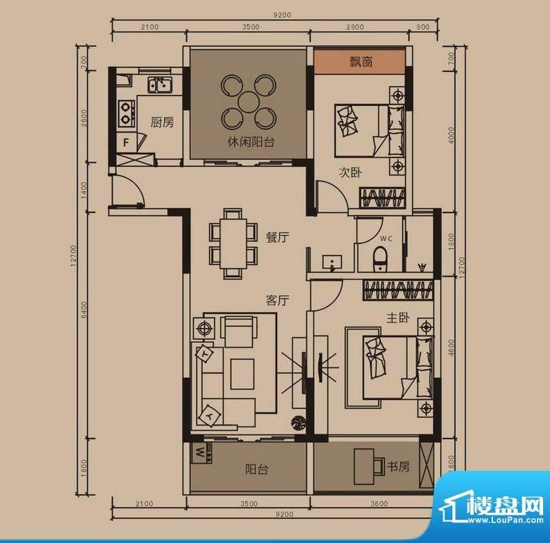 中珠上郡户型图8栋C户型 3室2厅面积:100.00平米
