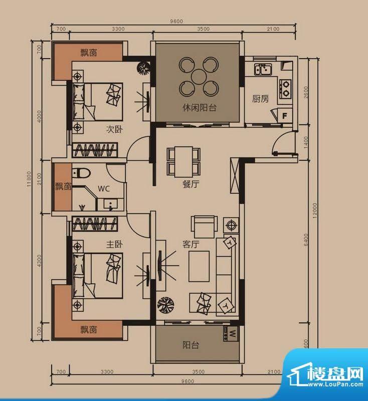 中珠上郡户型图8栋A户型 3室2厅面积:97.00平米
