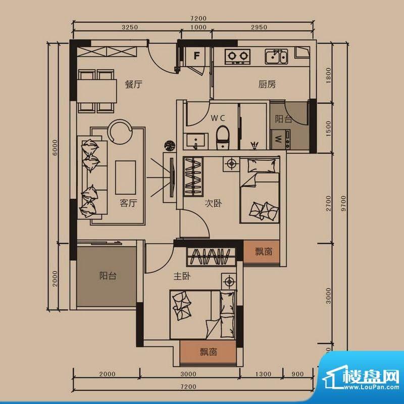 中珠上郡户型图8栋B户型 2室2厅面积:62.00平米