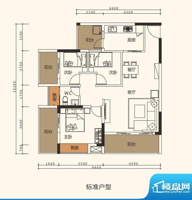 中珠上郡户型图5栋、6栋、7栋0面积:91.50平米