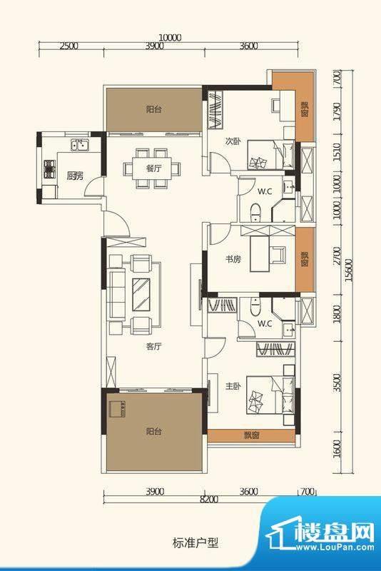 中珠上郡户型图1栋、5栋、6栋、面积:125.28平米
