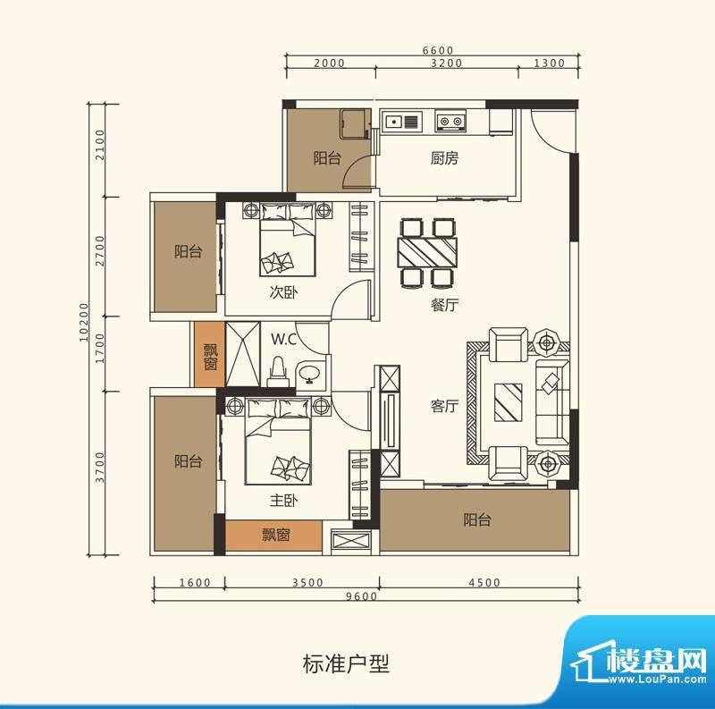 中珠上郡户型图1栋02户型 面积:91.50平米