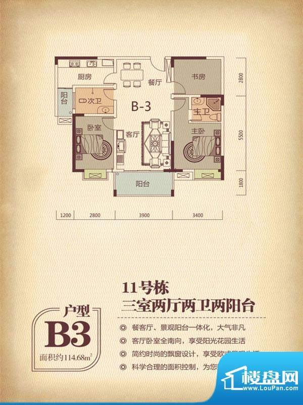 国色天香11栋B3户型面积:114.68m平米