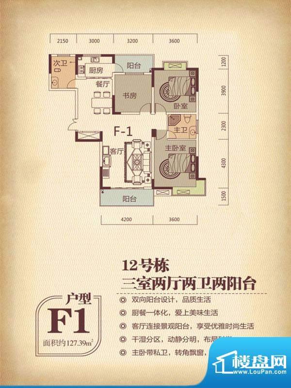 国色天香12栋F11户型面积:127.39m平米