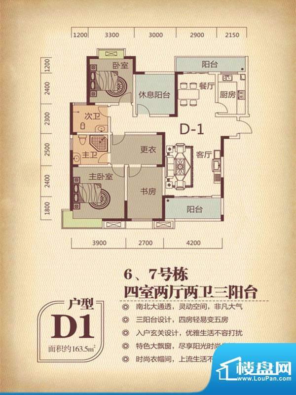国色天香6.7栋D1户型面积:163.50m平米