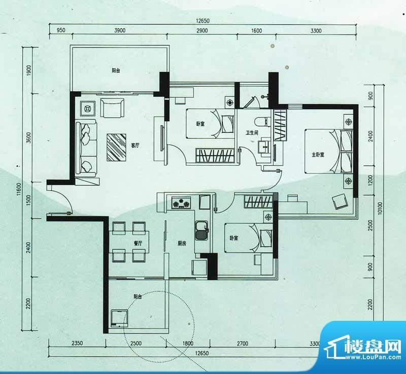 云顶澜山户型图11栋02户型 3室面积:89.21平米