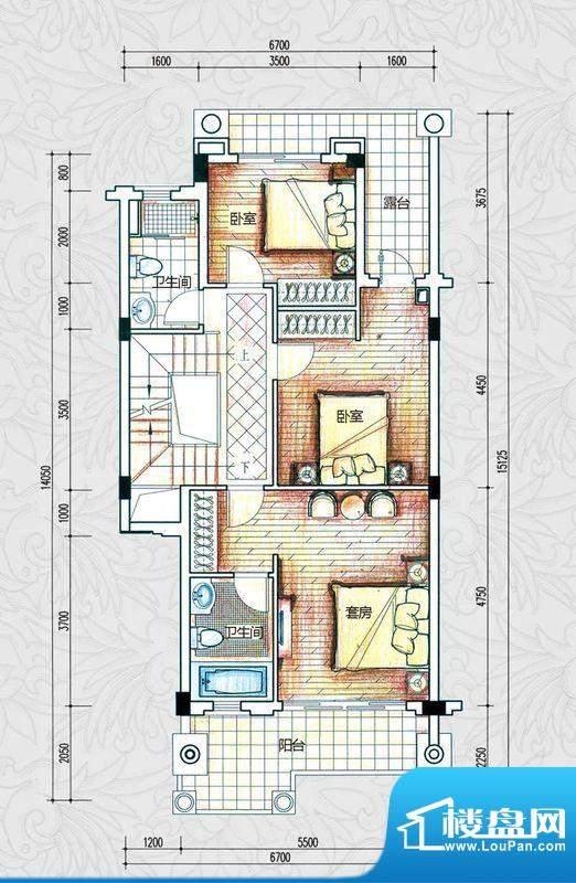 锦绣海湾城户型图C1-2户型二层