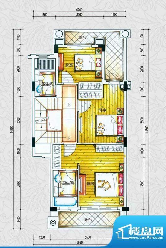 锦绣海湾城户型图C1-1户型二层
