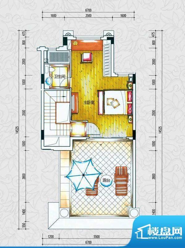 锦绣海湾城户型图C1-1户型三层