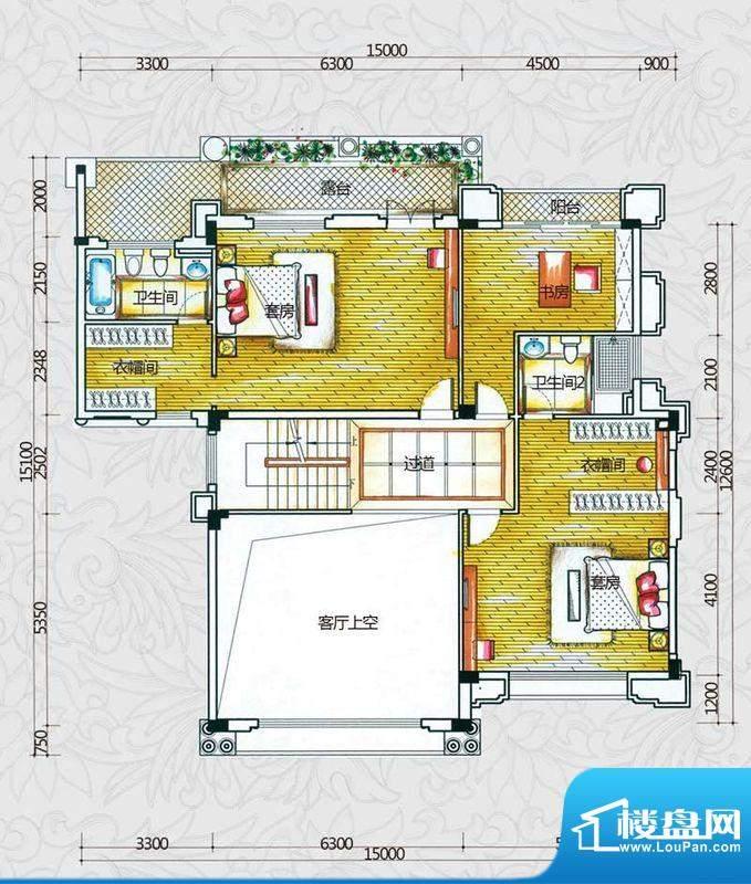 锦绣海湾城户型图B3户型二层平