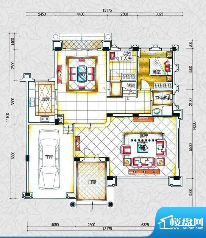 锦绣海湾城户型图B2-2户型首层