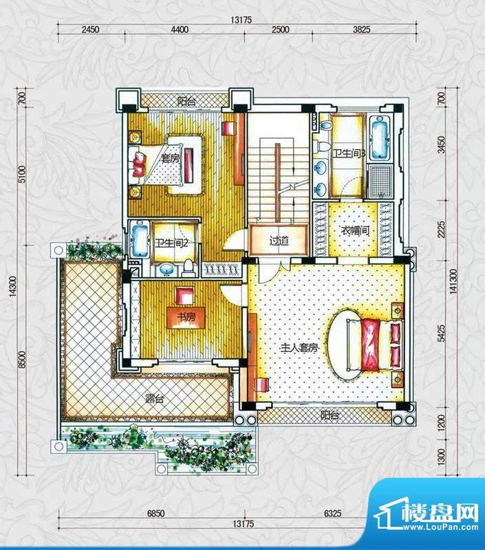 锦绣海湾城户型图B2-2户型二层