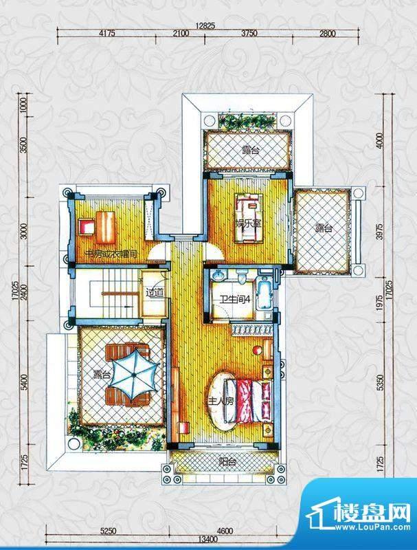 锦绣海湾城户型图B2-1户型三层