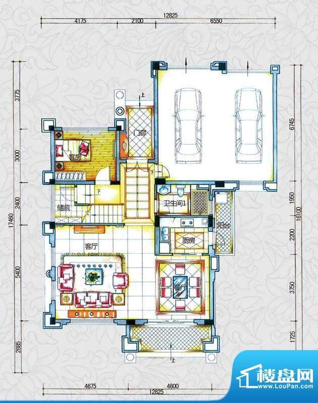 锦绣海湾城户型图B2-1户型首层