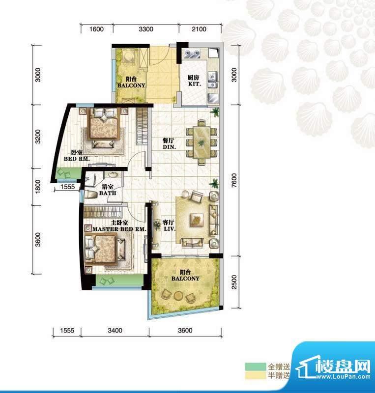 格力海岸户型图C5户型 2室2厅1面积:100.00平米
