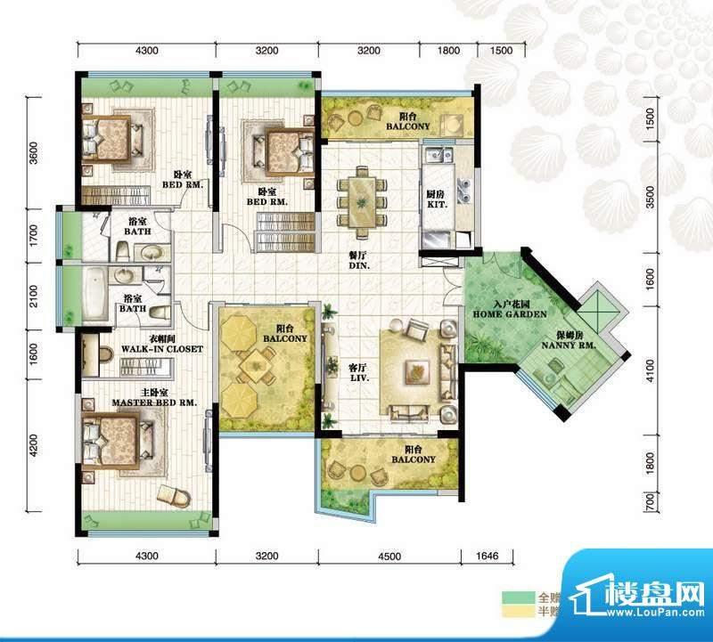 格力海岸户型图C2户型 3室2厅2面积:178.00平米
