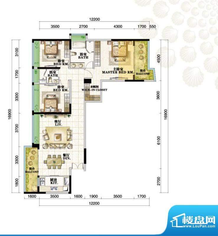 格力海岸户型图C3a户型 3室2厅面积:142.00平米