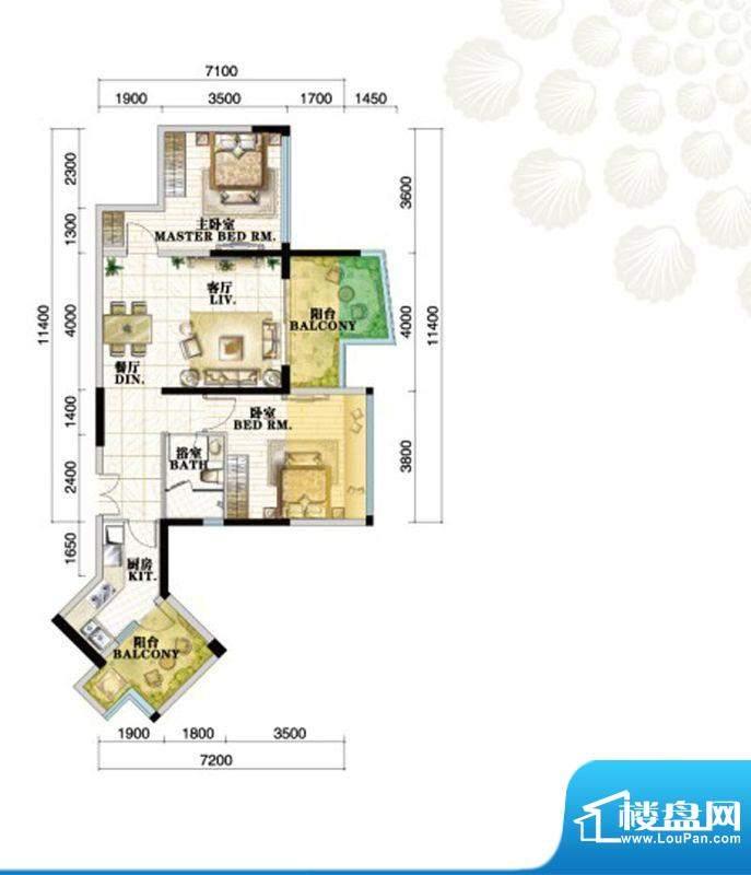 格力海岸户型图C3b户型 2室2厅面积:94.00平米