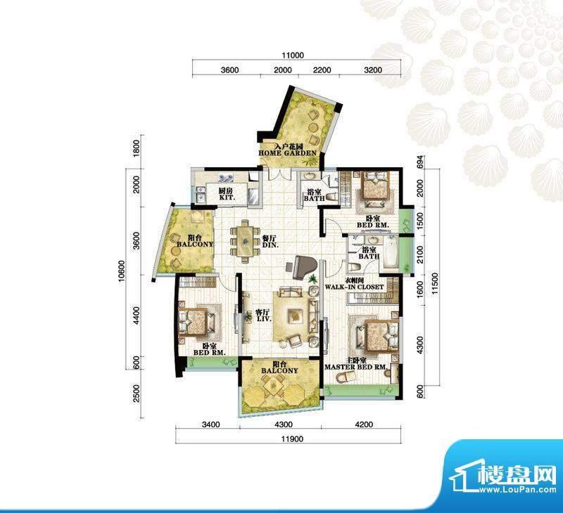 格力海岸户型图C1户型 3室2厅2面积:165.00平米