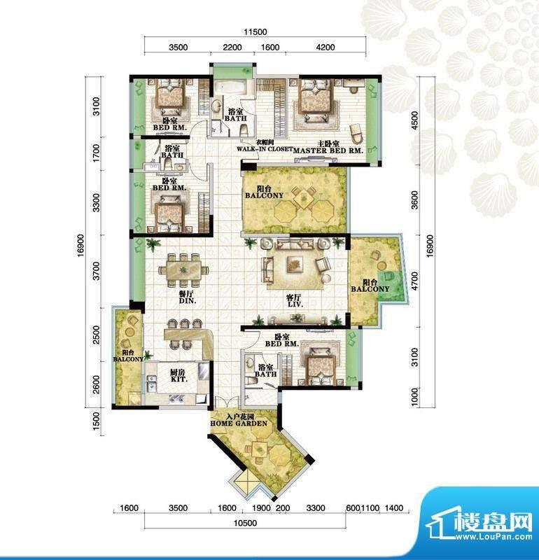 格力海岸户型图C3户型 4室2厅3面积:230.00平米