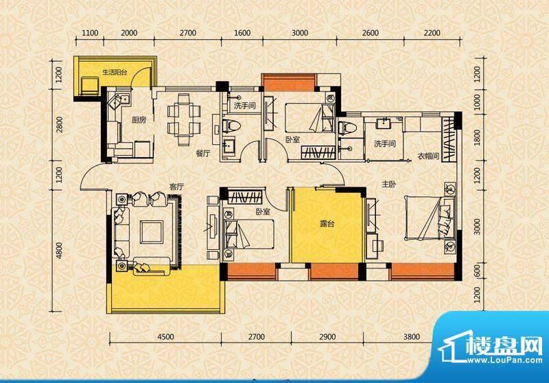 清华十二郡户型图五、六、七栋面积:112.00平米
