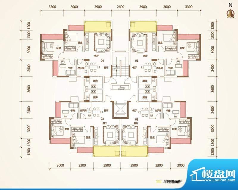 清华十二郡户型图三栋 3室2厅1面积:77.73平米