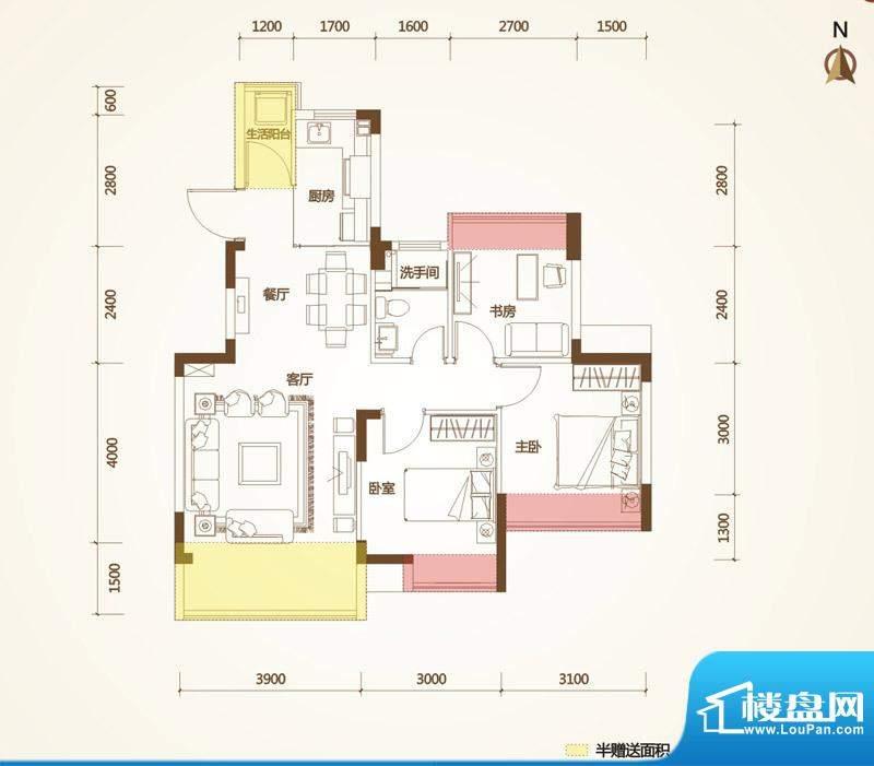 清华十二郡户型图八栋、九栋 3面积:80.45平米