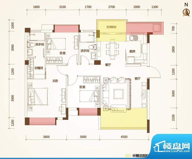 清华十二郡户型图一栋、十一栋面积:108.97平米