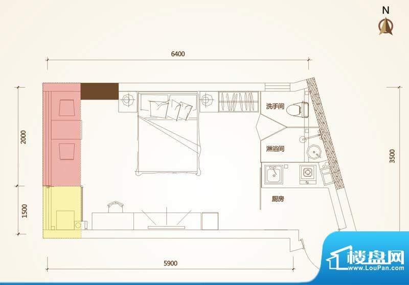 清华十二郡户型图四栋B户型 1室面积:31.28平米