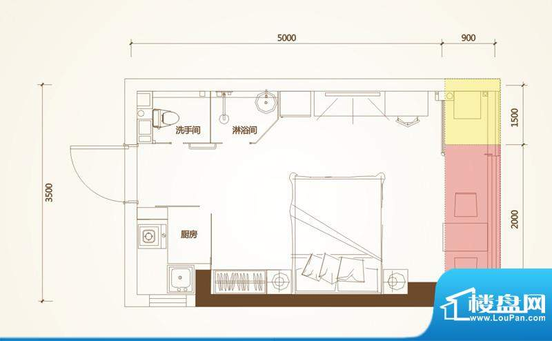 清华十二郡户型图四栋A户型 1室面积:26.69平米