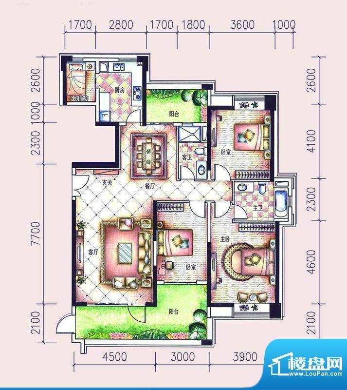 尚东领御户型图15栋1单元01户型面积:169.68平米