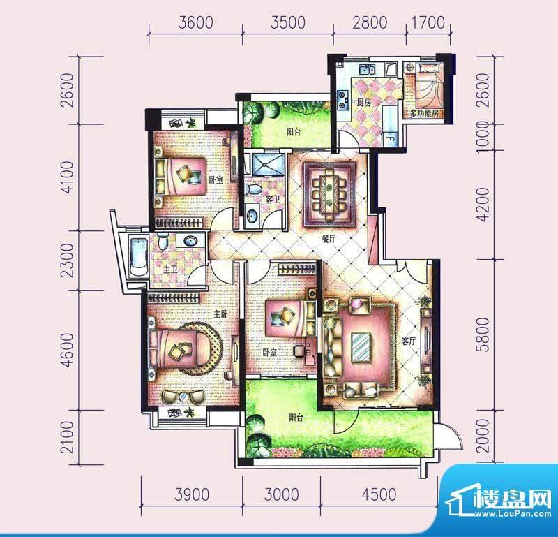 尚东领御户型图15栋1单元02户型面积:165.70平米