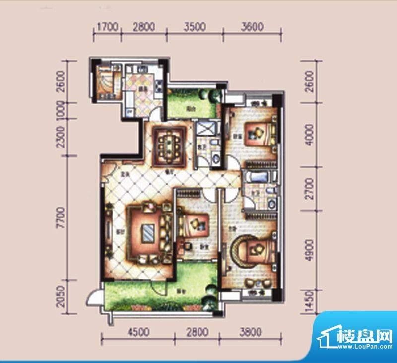 尚东领御户型图12栋1单元01户型面积:173.44平米