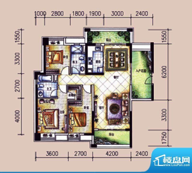 尚东领御户型图12栋2单元03户型面积:142.48平米