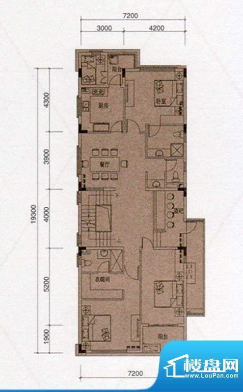 尚东领御D户型330㎡二层4室1厅面积:330.00平米