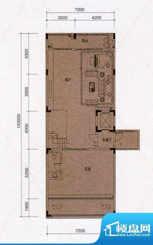 尚东领御D户型330㎡首层1厅138面积:138.00平米