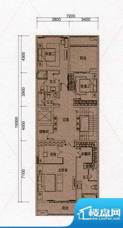 尚东领御户型图B户型300㎡二层面积:138.00平米