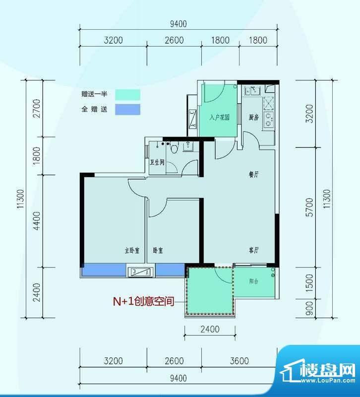 时代山湖海户型图6期92.78㎡3+