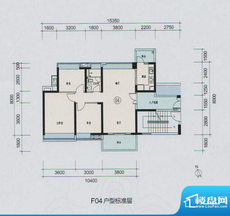 时代山湖海户型图F04户型 3室2面积:107.36平米